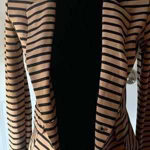 Poetry Jackets & Coats - Poetry Lightweight Black and Camel Striped Blazer